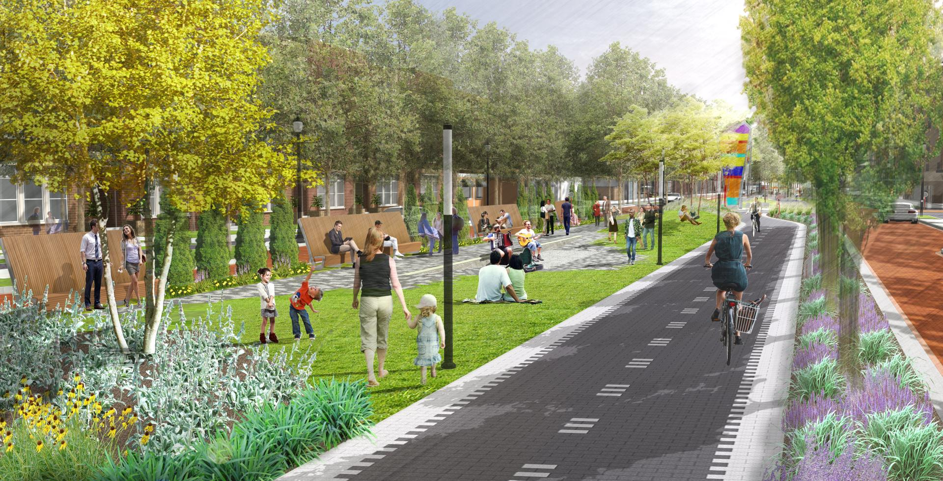Community Green Rendering - Carmel Monon Blvd