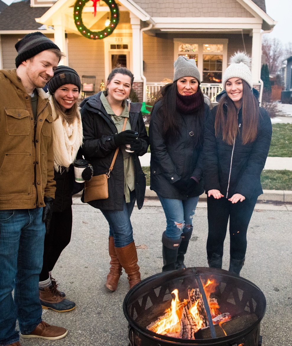Holiday Porchfest group by fire Carmel 2018