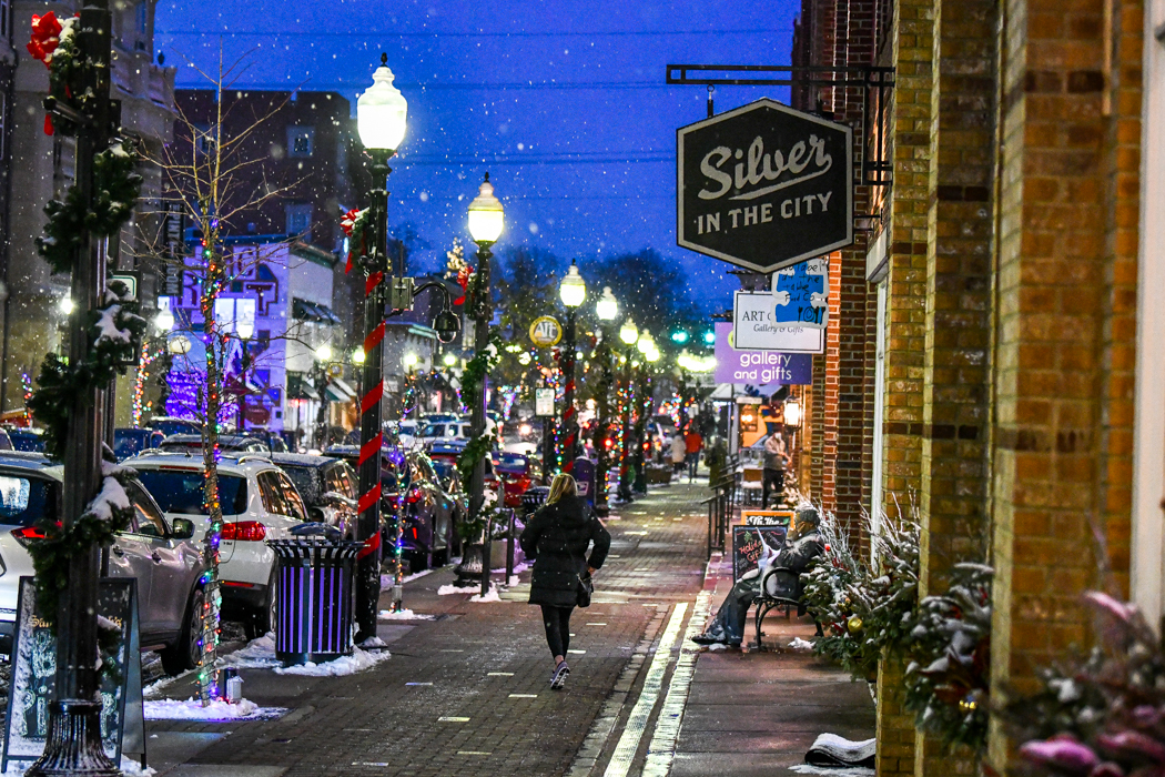 Main Street Evening Winter lights